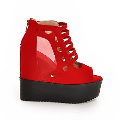 Talones de las mujeres Zapatos Primavera Verano Otoño Invierno Club de paño grueso y suave tul de novia vestido de fiesta y noche tacón de cuña de la plataforma de la cremallera Negro Rojo Red