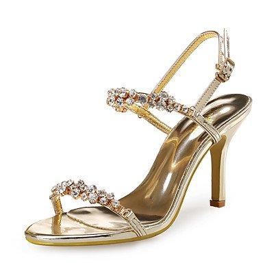FYios Club de Mujeres sandalias zapatos Glitter sintéticas boda vestido de noche &Amp; Stiletto talón Rhinestone rosa de oro,Oro,US8.5/UE39/UK6.5/CN40 US8.5 / EU39 / UK6.5 / CN40