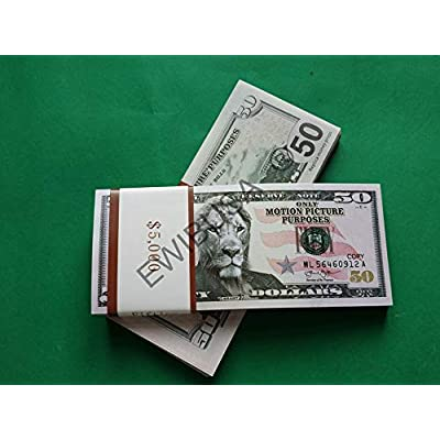 EWIBUSA Prop Money Total of 5.000 Dollars 50X100 Pcs Size : 6.14x2.59 in Play Money Magician Porp,Movie Props: Toys & Games