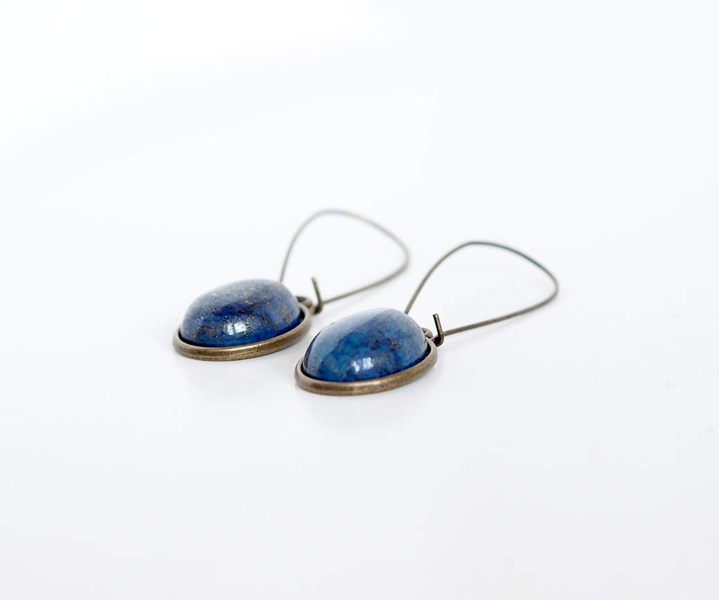cabuj/ón Lapisl/ázuli Pendientes bronce azul