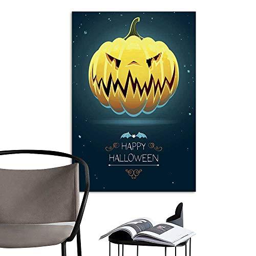 UHOO Linen Art Prints PicturesVector Scary Halloween Pumpkin2.jpg Wall Art for Bedroom Living Room 16
