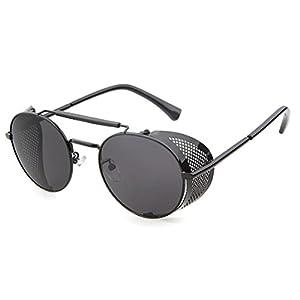 Flowertree® STY056 Metal Frame Mesh Fold-in Side Shield Round 52mm Sunglasses (C1-black+grey, 0)