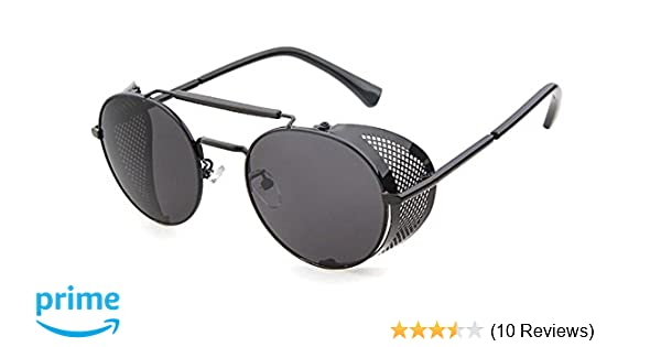 dcdeae6edf621 Amazon.com  Flowertree STY056 Metal Frame Side Shield Oval 52mm Sunglasses  (black+grey)  Clothing