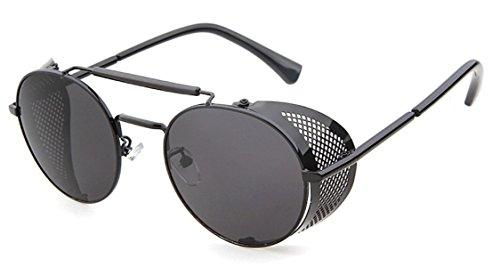 Flowertree STY056 Metal Frame Side Shield Oval 52mm Sunglasses (black+grey)