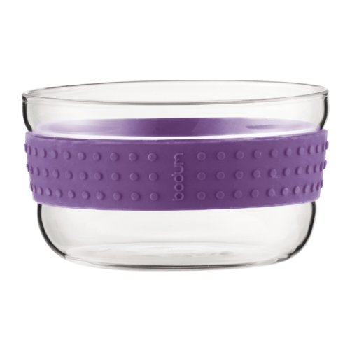 (Bodum Pavina Salad Bowl, Fruit Bowl, Table Bowl, Glass/ Silicone, Small, Purple, Set of 2, 11336-278 )