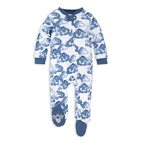 Burt's Bees Baby Unisex Baby Sleep & Play, Organic Pajamas, NB-9M One-Piece Zip Up Footed PJ Jumpsuit, Moonlight Clouds, 3-6 Months