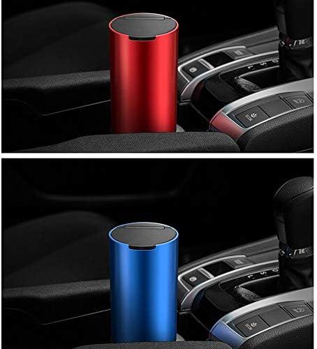 ほとんどの車のカップホルダーのための蓋で車のシガー灰皿、旅行、家庭やオフィスのために簡単にクリーンアップ取り外し可能な灰皿、ミニ車廃棄物ビン、,赤