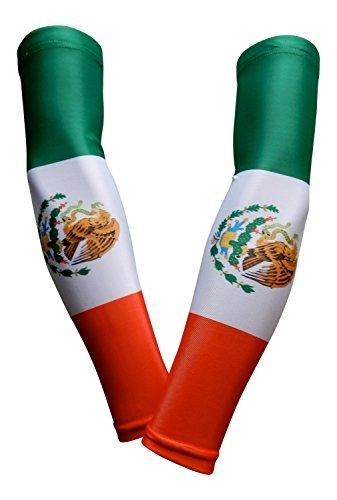 PAIR - Sports Farm - Compression Elbow Arm Sleeves (ADULT MEDIUM, MEXICO FLAG)