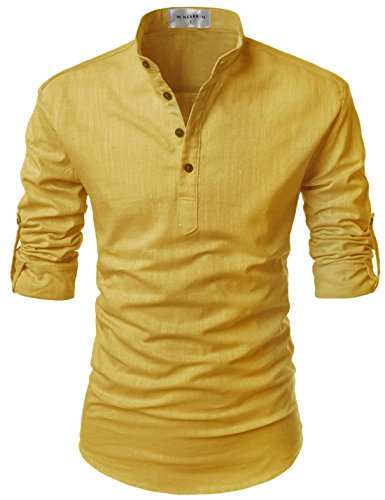 NEARKIN (NKNKN350 Beloved Men Henley Neck Long Sleeve Daily Look Linen Shirts Mustard US M(Tag Size M) - Long Sleeve Henley In Black