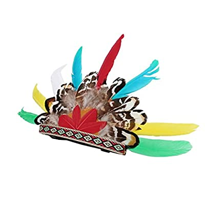 Yeefant Adjustable Buckle and Rubber Band Design Pet Indians Style Feather Headgear Hat Dog Adjustable Buckle Costume Festival Cosplay,10.6 x 5.9 Inch,Multicolor