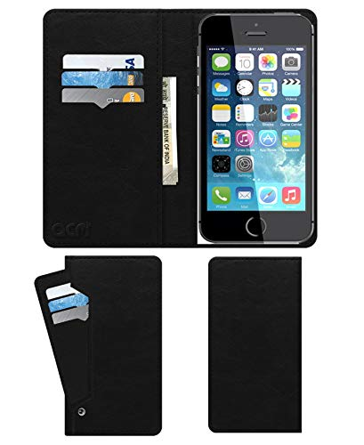 Acm Wallet Leather Flip Carry Case Compatible with Apple iPhone 5s Mobile Flap Card Holder Cover Royal Black
