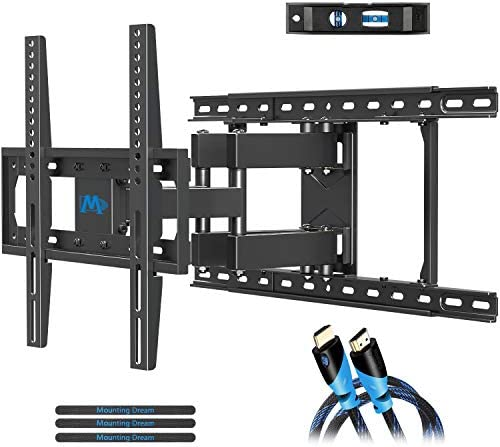Mounting Dream TV Mount Full Motion TV Wall Mounts for 26-55 Inch Flat Screen TV, Wall Mount TV Bracket with Dual Arms, Max VESA 400x400mm and 99 LBS, Fits 16 , 18 , 24 Studs MD2380-24K TV Mounts