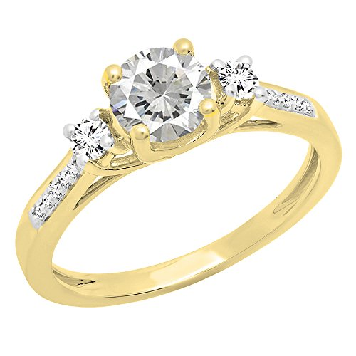 Dazzlingrock Collection 18K 5 MM Round White Sapphire & Diamond Ladies Engagement Ring, Yellow Gold, Size 5