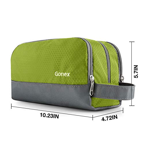Gonex Travel Toiletry Bag Nylon, Dopp Kit Shaving Bag Toiletry Organizer Green
