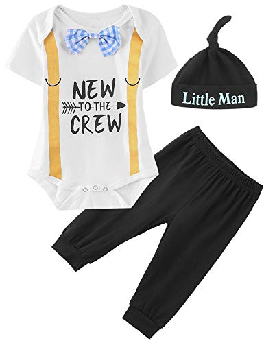 Crew Striped Bodysuit - Newborn Striped Outfit Set Baby Boy New to The Crew Bodysuit (White,0-3 Months)