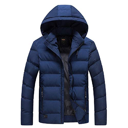 Zip Hooded with Simple Dark Relaxed Blue Coat Men's Fit Solid Duffle Energy TnpqWEXHw