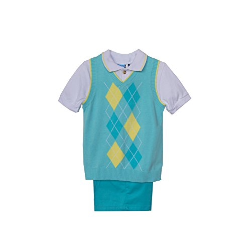 Good Lad Baby-Boys Newborn Argyle Sweater Sold Short Set, Turquoise, 6-9 -