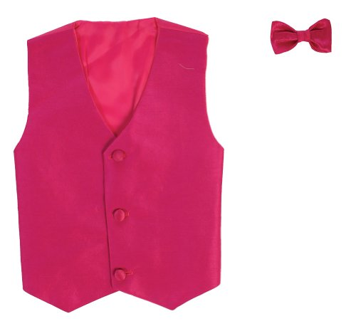 (Vest and Clip On Boy Bowtie set - FUCHSIA -)