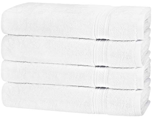 Utopia Towels Premium 700 GSM Cotton Large Hand Towels (White, 4-Pack,16 x 28 inches) - Multipurpose Towels for Bath, Hand, Face, Gym and Spa