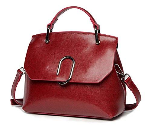 ody Bag,Vintage Leather Tote Purses Handbags Flap Satchel(Red) (Flap Leather Handbag)