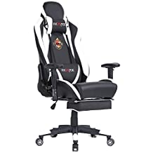 Ficmax Large Size High-back Ergonomic Gaming Chair Racing Seat with Massager Lumbar Support and Retractible Footrest (White/Black)