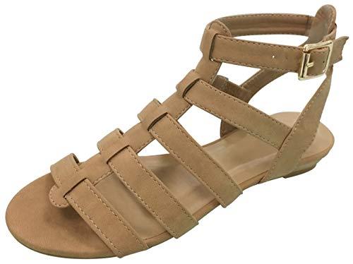 Top Cute Designer Outdoor Walking Multi Strap Comfy Heels Gladiator Sandal Shoe for Women Junior Ladies (Tan Size - Chefs Knife 1/4 Inch