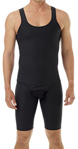 Underworks Mens Compression Bodysuit Girdle - No Rear Zipper Large Black]()