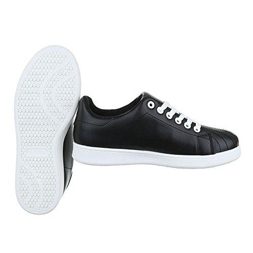 Ital-Design Sneakers Low Damenschuhe Schnürsenkel Freizeitschuhe Schwarz