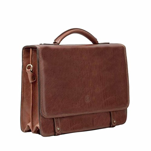 Maxwell Scott Personalized Luxury Tan Mens Leather Satchels (The Battista) - One Size by Maxwell Scott Bags (Image #2)