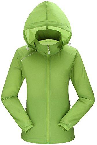HengJia Women's Ultra Lightweight Jacket UPF 50+ Cycling Hiking Windbreaker Grass Green L