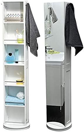 Armoire Colonne Pivotante De Salle De Bain 6 Niches 2 Miroirs 2 Pateres Coloris Blanc Amazon Fr Cuisine Maison