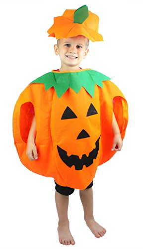 [Halloween Orange Pumpkin Unisex Costume Set for Party Children Clothing 2-6year] (Halloween Costumes For The Family)