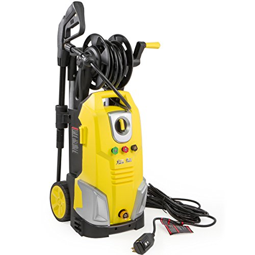 XtremepowerUS Electric Pressure Washer w/Hose Reel Jet Wand Nozzle Adapter Built-in Soap Dispenser 2000 PSI 1.7 GPM, Yellow ()