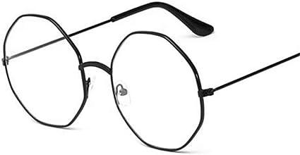 HUYAO Men Vintage Anti Blue light Glasses Frame Octagon Women Lens Myopia Optical Mirror Simple Metal Flat Mirror Anti-blue Clear Eyewear Frames silver