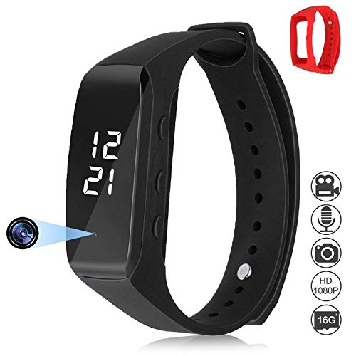 a Watch Wristband Video HD 1080P Mini DVR Cam with Photo & Voice Mode Black & Red Adjustable Wristband Easy Operation + Bundle Gift 16GB SD Micro Card ()