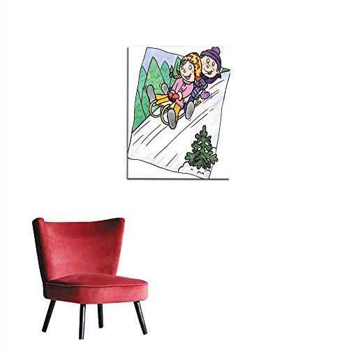 - longbuyer Wall Paper Two Children Sledging on a Hill Mural 20