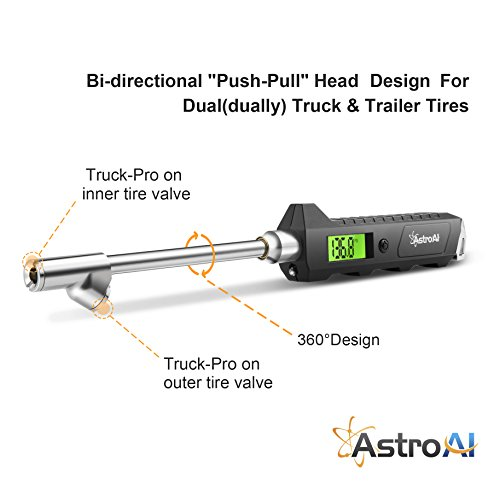 AstroAI ATG230 Digital Tire Pressure Gauge 230 PSI RV Heavy Duty Dual Head Stainless Steel Made for Truck Car with Larger Backlit LCD and Flashlight by AstroAI (Image #2)