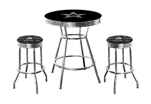 "- Pub/Bar Table with Team Logo and 2 – 29"" Swivel Stools Featuring Your Favorite Football Team Upholstered Seat Cushions (Cowboys)"