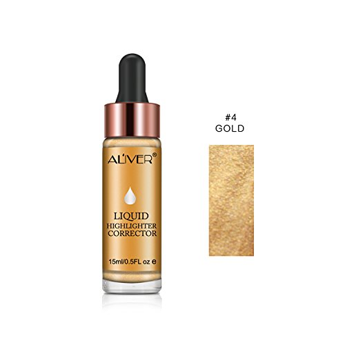 Face Glow Liquid Highlighter, Aliver Contour Make Up Glitter Brighten Shimmer 3D Highlighters Waterproof (#4 GOLD)