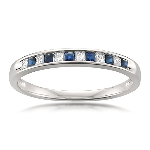 La4ve Diamonds 14k White Gold Princess-Cut Diamond & Blue Sapphire Bridal Wedding Band Ring (1/4 cttw, H-I, I1-I2), Size 6.5