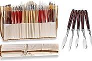 AOOK Pincéis de pintura de artistas de cabelo superiores, conjunto de pincéis de ponta redonda para pintura a