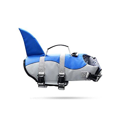 G LAKE Dog Life Jacket Ripstop Adjustable Pet Safety Swimsuit Puppy Saver Swimming Flotation Life Vest Preserver for Small Medium Large Dogs(Blue Shark - Swimsuit Blue Life