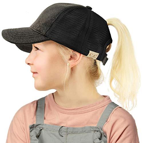 (C.C Kids 2-7 Ponytail Messy Buns Ponycaps Baseball Visor Cap Hat Glitter Black )