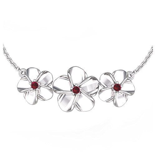 Solid Sterling Silver Rose Flower Necklace Set with Three Lab-grown Red Ruby for Women