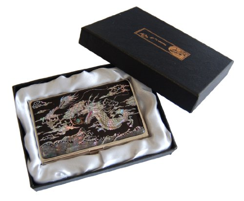 """Business Card case holder for your pocket with mother of pearl dragon design """"Yong"""", colorfull stainless steel engraved"""