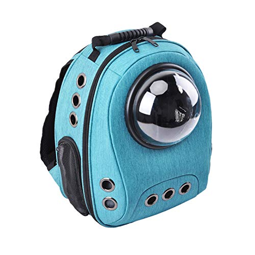 Expandable Pet Travel Carrier Backpack with Space Capsule Bubble, Canvas Handbag Kennel with Removable Reversible Fleece & Canvas Mat Multiple Air Holes for Cats Puppies Small Animals (sky blue)