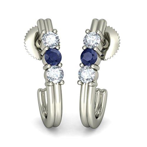 18K Or Blanc 0,12CT TW White-diamond (IJ | SI) et bleu saphir Boucles d'oreille à tige