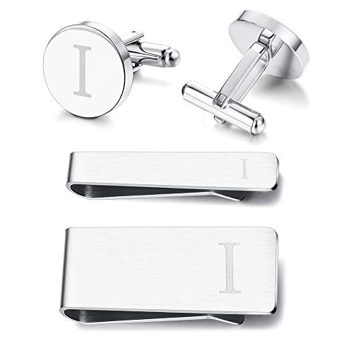 Subiceto Firm Men's Cufflinks Tie Bar Money Clip Set 4 Pcs Engraved Alphabet I Wedding Party Business Gifts