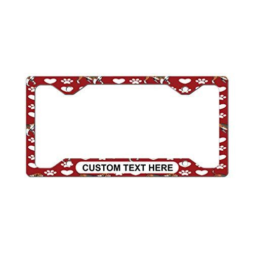 Style In Print Custom License Plate Frame American Foxhound Dog Red Aluminum Cute Car Accessories Narrow Top Personalized Text Here One Frame