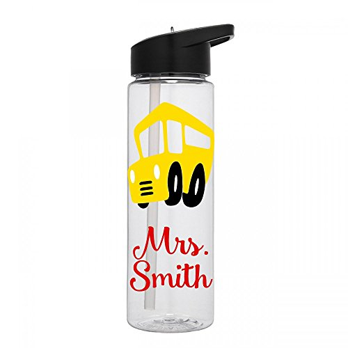 (Personalized Sport water bottle School Bus design with name BPA Free 24 oz, clear or colored bottle)